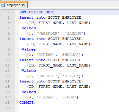 Insert Statement Oracle Template