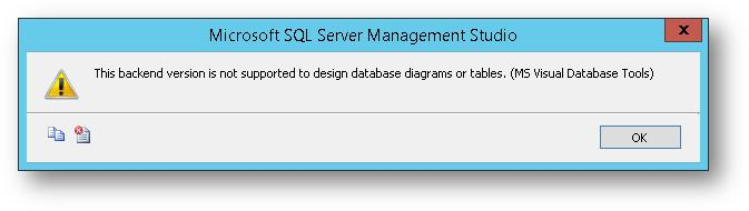 Sql server backend version is not supported to design database this backend version is not supported to design database diagrams or tables ms visual ccuart Gallery